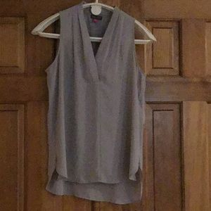 Sleeveless taupe blouse